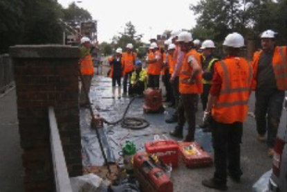 Inspecting the parapet strengthening project on completion