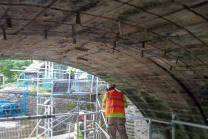 Bridge strengthening work and preparation near Sheffield