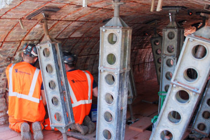 Grout injection in to the railway bridge arch