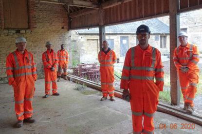 The Goldhawk Bridge Restoration team social distancing at work
