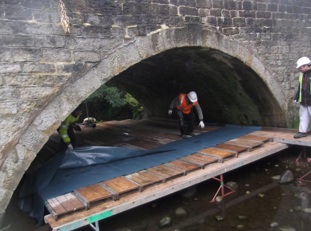 Goldhawk Bridge Restoration – typical working platform under a small arch