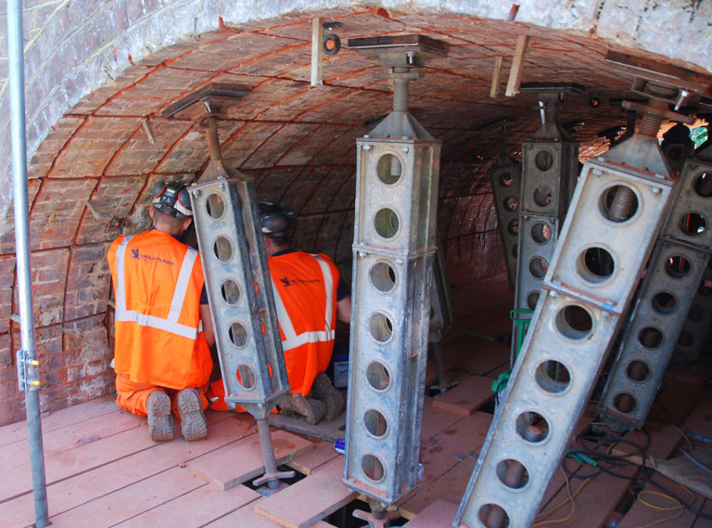 Propping the railway arch whilst installing the Goldhawk MARS system